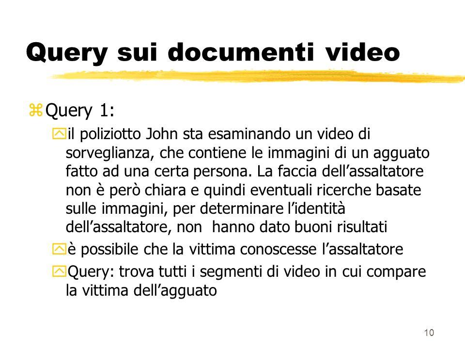 10 Query sui documenti video zQuery 1: yil poliziotto John sta esaminando un video di sorveglianza, che contiene le immagini di un agguato fatto ad una certa persona.