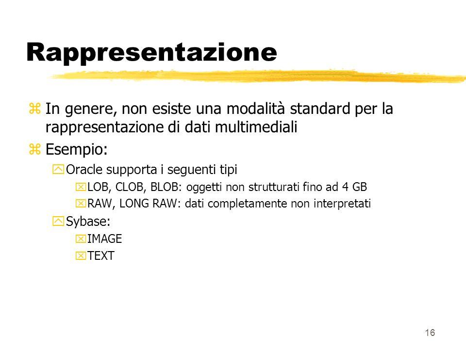16 Rappresentazione zIn genere, non esiste una modalità standard per la rappresentazione di dati multimediali zEsempio: yOracle supporta i seguenti tipi xLOB, CLOB, BLOB: oggetti non strutturati fino ad 4 GB xRAW, LONG RAW: dati completamente non interpretati ySybase: xIMAGE xTEXT