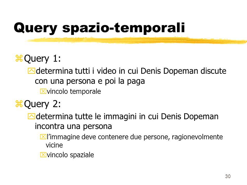 30 Query spazio-temporali zQuery 1: ydetermina tutti i video in cui Denis Dopeman discute con una persona e poi la paga xvincolo temporale zQuery 2: ydetermina tutte le immagini in cui Denis Dopeman incontra una persona xlimmagine deve contenere due persone, ragionevolmente vicine xvincolo spaziale