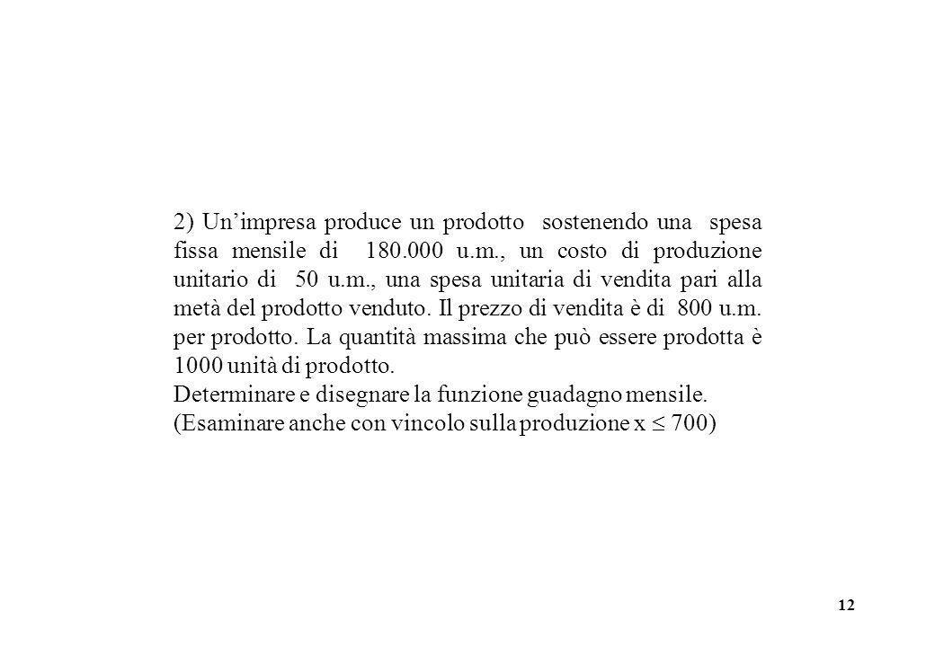 12 2) Unimpresa produce un prodotto sostenendo una spesa fissa mensile di 180.000 u.m., un costo di produzione unitario di 50 u.m., una spesa unitaria