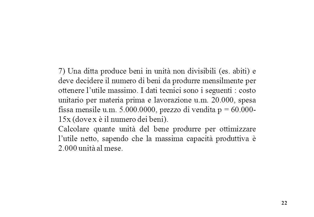 22 7) Una ditta produce beni in unità non divisibili (es. abiti) e deve decidere il numero di beni da produrre mensilmente per ottenere lutile massimo