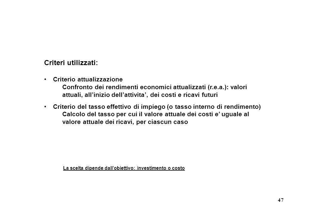 47 Criteri utilizzati: Criterio attualizzazione Confronto dei rendimenti economici attualizzati (r.e.a.): valori attuali, allinizio dellattivita, dei