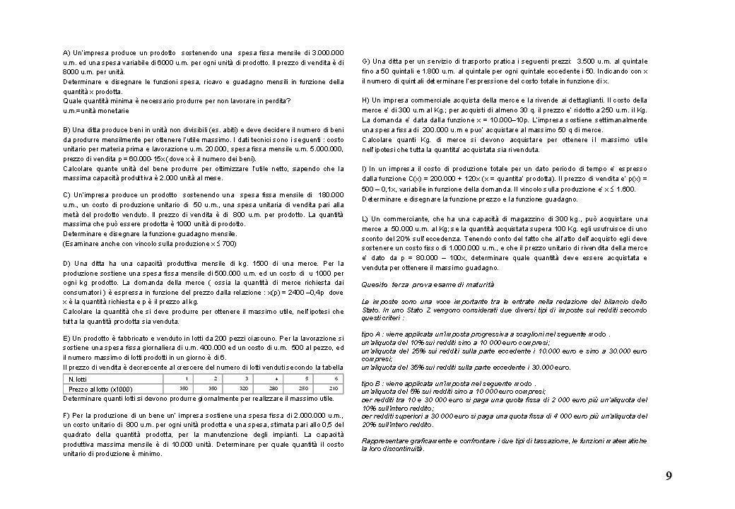 10 1) Unimpresa produce un prodotto sostenendo una spesa fissa mensile di 3.000.000 u.m.
