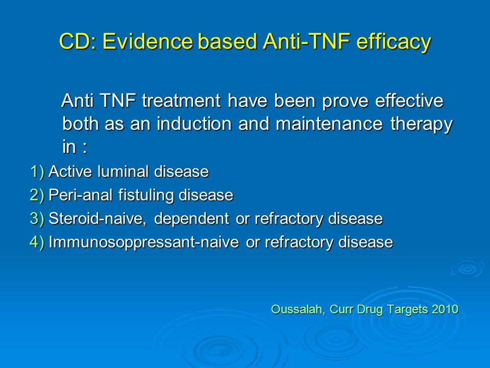 CD: Evidence based Anti-TNF efficacy Anti TNF treatment have been prove effective both as an induction and maintenance therapy in : Anti TNF treatment