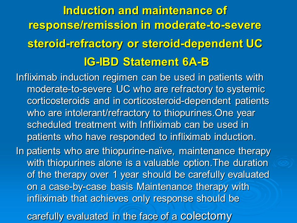 Induction and maintenance of response/remission in moderate-to-severe steroid-refractory or steroid-dependent UC IG-IBD Statement 6A-B Infliximab indu