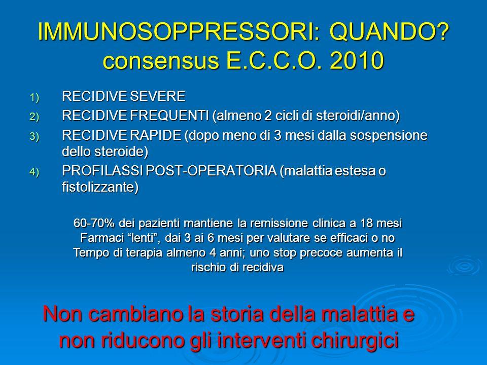 IMMUNOSOPPRESSORI: QUANDO? consensus E.C.C.O. 2010 1) RECIDIVE SEVERE 2) RECIDIVE FREQUENTI (almeno 2 cicli di steroidi/anno) 3) RECIDIVE RAPIDE (dopo