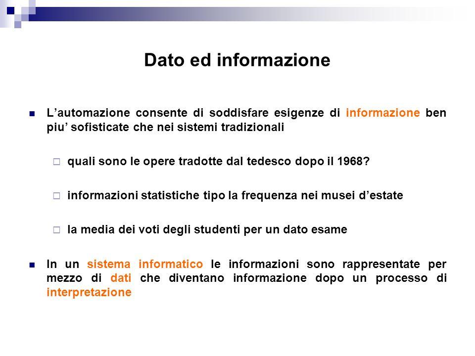 Dato ed informazione Lautomazione consente di soddisfare esigenze di informazione ben piu sofisticate che nei sistemi tradizionali quali sono le opere