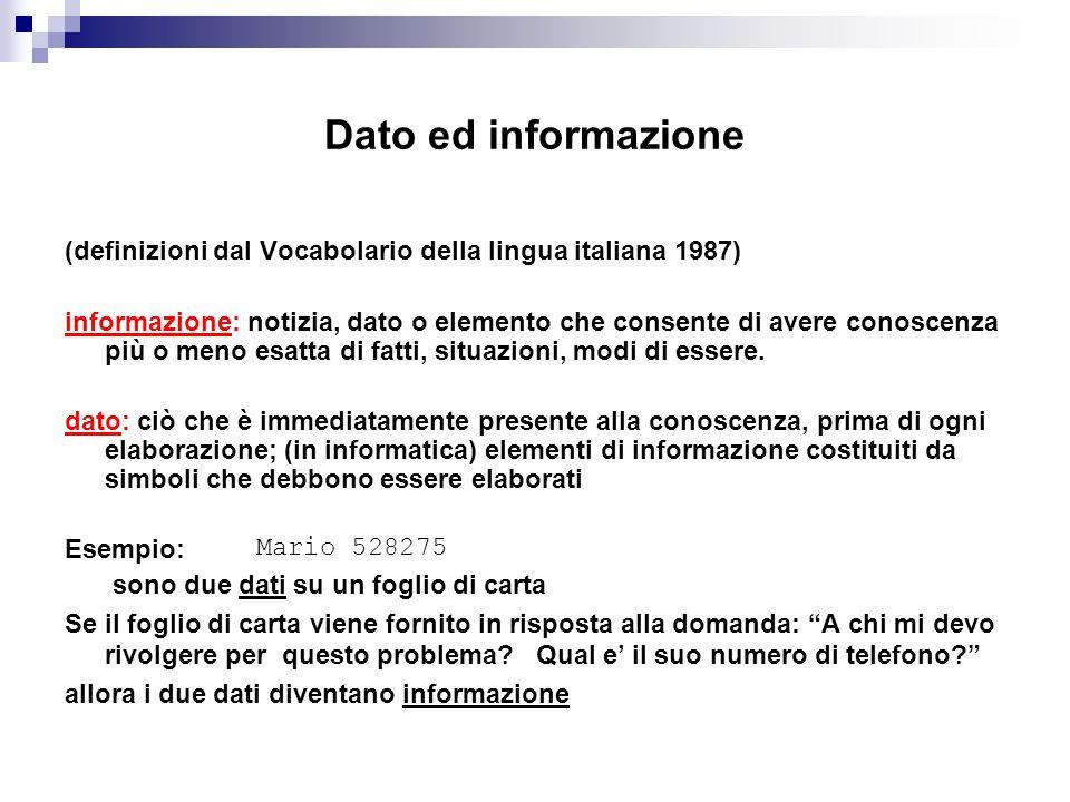 Dato ed informazione (definizioni dal Vocabolario della lingua italiana 1987) informazione: notizia, dato o elemento che consente di avere conoscenza
