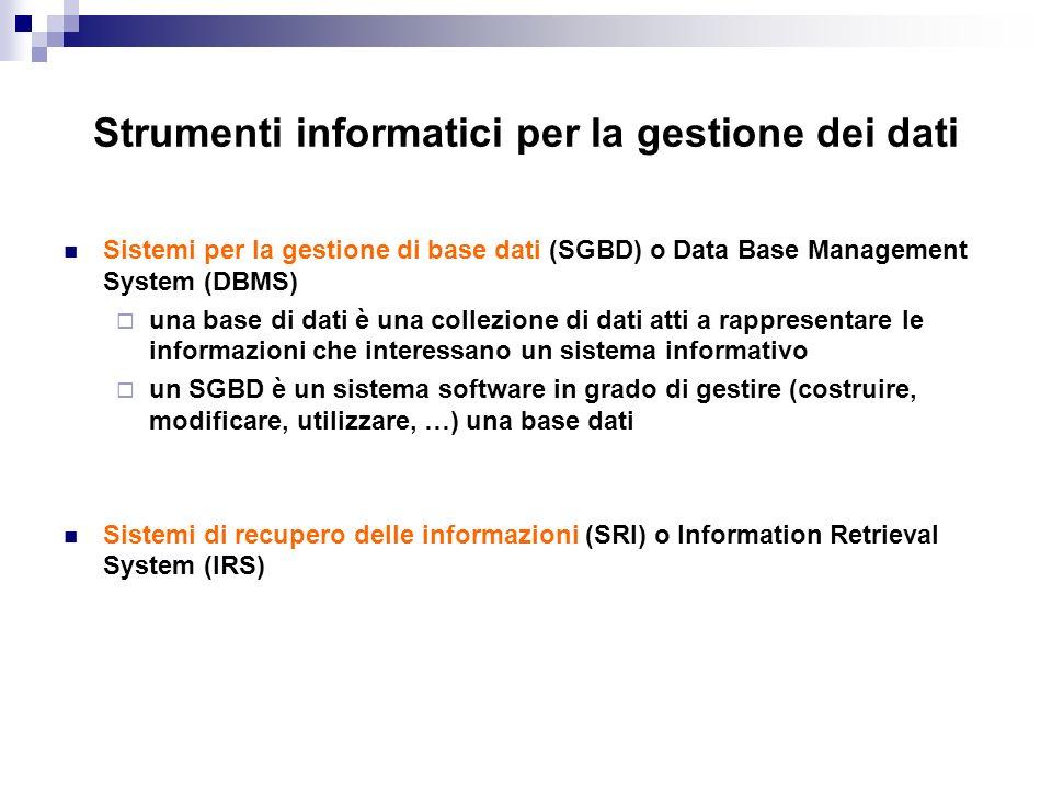 Strumenti informatici per la gestione dei dati Sistemi per la gestione di base dati (SGBD) o Data Base Management System (DBMS) una base di dati è una
