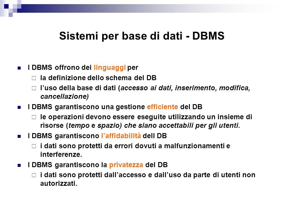 Sistemi per base di dati - DBMS I DBMS offrono dei linguaggi per la definizione dello schema del DB luso della base di dati (accesso ai dati, inserime
