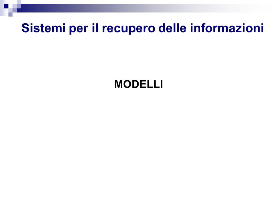 Sistemi per il recupero delle informazioni MODELLI