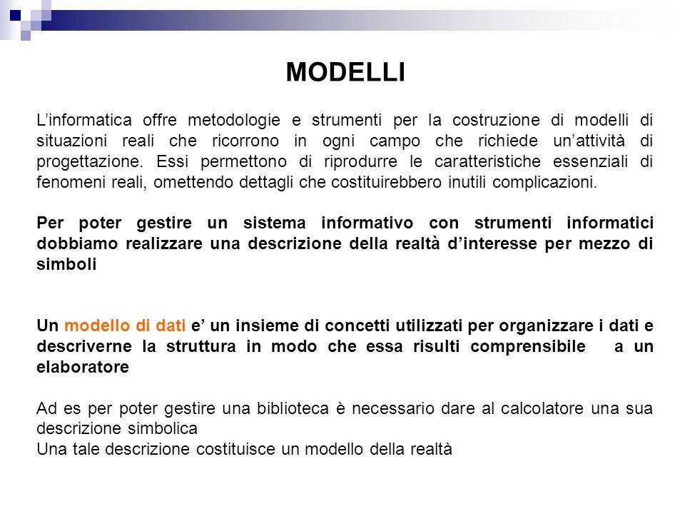 Linformatica offre metodologie e strumenti per la costruzione di modelli di situazioni reali che ricorrono in ogni campo che richiede unattività di pr
