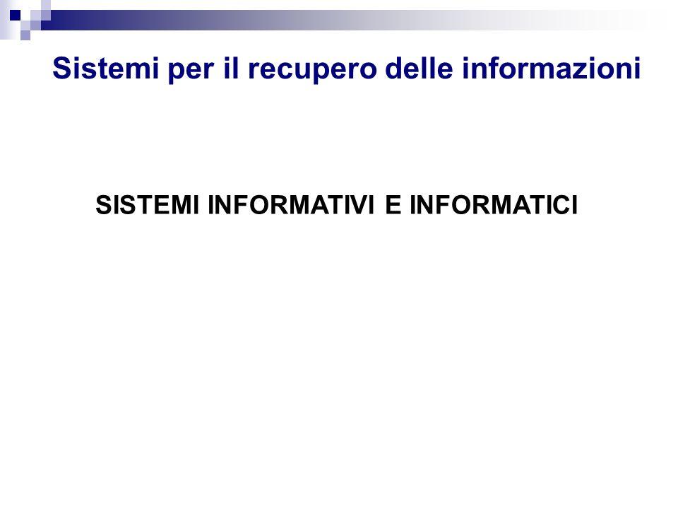 SCHEMA RIASSUNTIVO Sistema organizzativo Sistema informativo Sistema informatico Informazioni Dati
