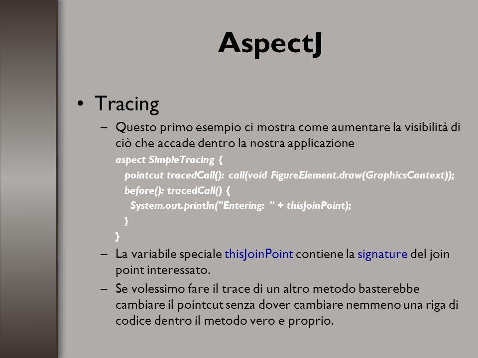 AspectJ Tracing –Questo primo esempio ci mostra come aumentare la visibilità di ciò che accade dentro la nostra applicazione aspect SimpleTracing { po