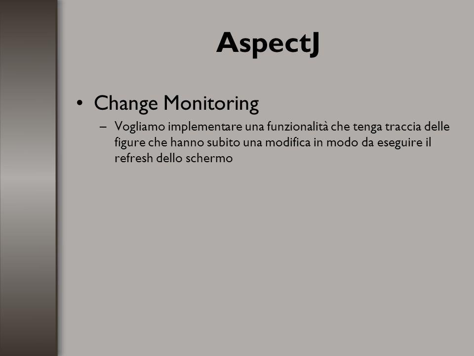AspectJ Change Monitoring –Vogliamo implementare una funzionalità che tenga traccia delle figure che hanno subito una modifica in modo da eseguire il
