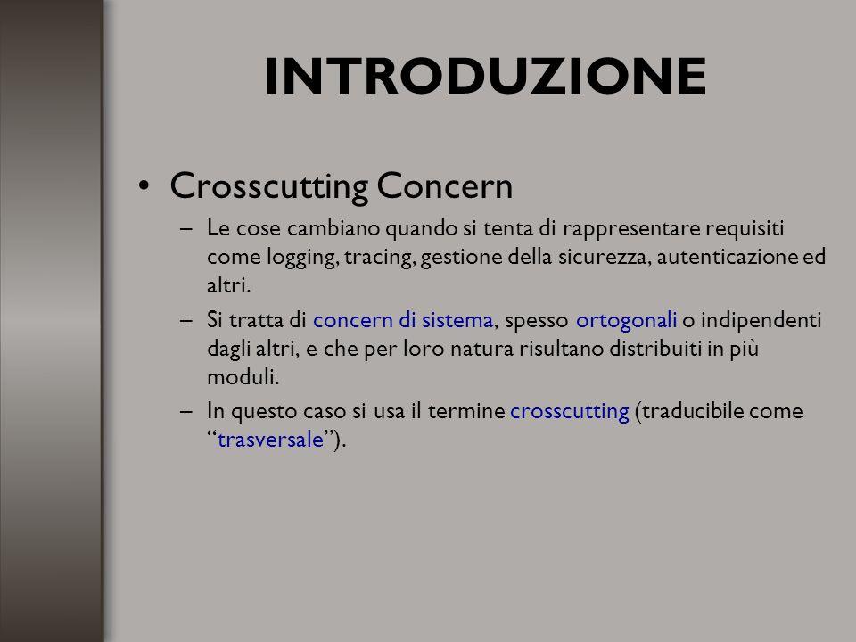 AspectJ Context exposing –I pointcut possono esporre parte del contesto di esecuzione nel loro join point.