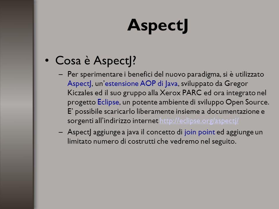 AspectJ Cosa è AspectJ? –Per sperimentare i benefici del nuovo paradigma, si è utilizzato AspectJ, unestensione AOP di Java, sviluppato da Gregor Kicz