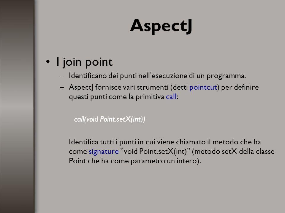 Bibliografia –The AspectJ Programming Guide http://dev.eclipse.org/viewcvs/indextech.cgi/~checkout~/aspectj- home/doc/progguide/index.html http://dev.eclipse.org/viewcvs/indextech.cgi/~checkout~/aspectj- home/doc/progguide/index.html –Aspect Oriented programming con AspectJ http://www.objectway.it/articles/0308_AOPAspectJ.pdf http://www.objectway.it/articles/0308_AOPAspectJ.pdf –Aspect Oriented Programmi di Kiczales (articolo originale del 1997) http://www2.parc.com/csl/groups/sda/publications/papers/Kiczales-ECOOP97/for-web.pdf http://www2.parc.com/csl/groups/sda/publications/papers/Kiczales-ECOOP97/for-web.pdf