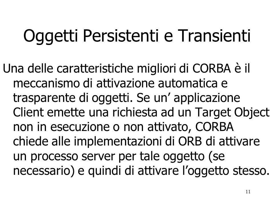11 Oggetti Persistenti e Transienti Una delle caratteristiche migliori di CORBA è il meccanismo di attivazione automatica e trasparente di oggetti.