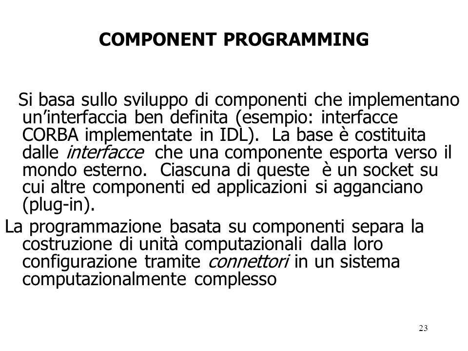 23 COMPONENT PROGRAMMING Si basa sullo sviluppo di componenti che implementano uninterfaccia ben definita (esempio: interfacce CORBA implementate in IDL).