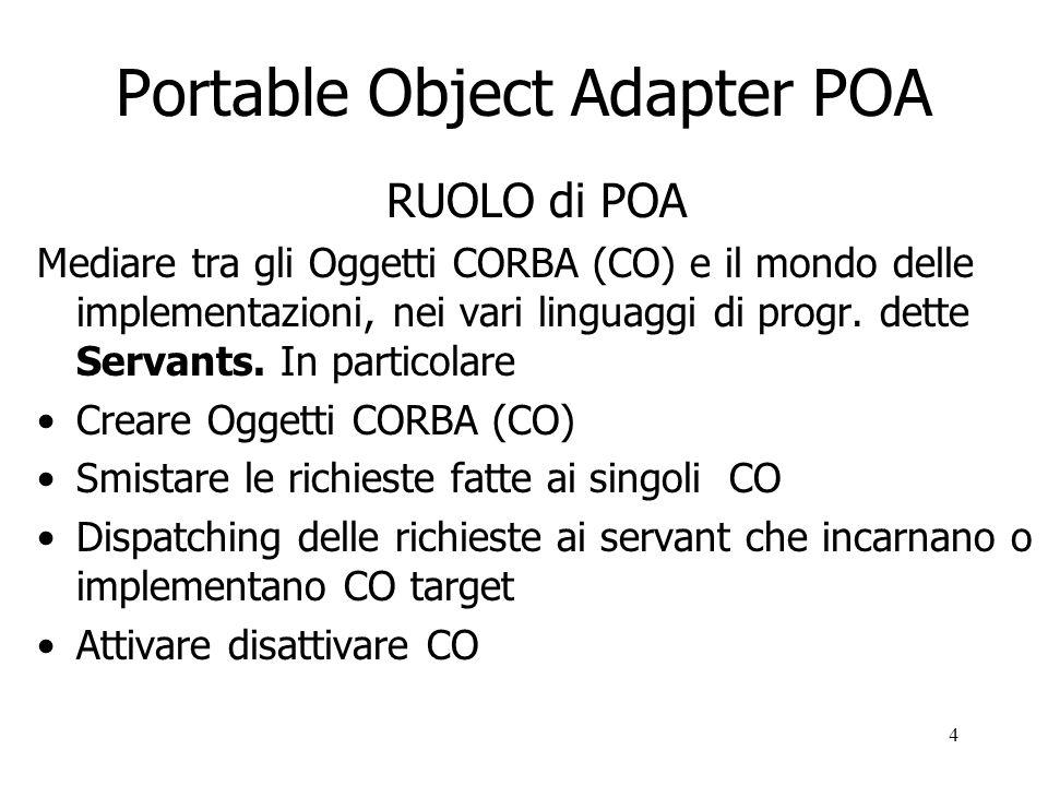 4 Portable Object Adapter POA RUOLO di POA Mediare tra gli Oggetti CORBA (CO) e il mondo delle implementazioni, nei vari linguaggi di progr.