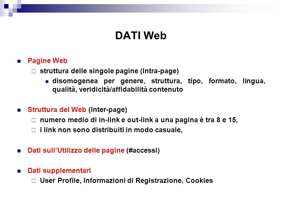 DATI Web Pagine Web struttura delle singole pagine (Intra-page) disomogenea per genere, struttura, tipo, formato, lingua, qualità, veridicità/affidabilità contenuto Struttura del Web (Inter-page) numero medio di in-link e out-link a una pagina è tra 8 e 15, i link non sono distribuiti in modo casuale, Dati sullUtilizzo delle pagine (#accessi) Dati supplementari User Profile, Informazioni di Registrazione, Cookies
