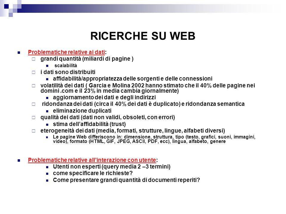 RICERCHE SU WEB Problematiche relative ai dati: grandi quantità (miliardi di pagine ) scalabilità i dati sono distribuiti affidabilità/appropriatezza delle sorgenti e delle connessioni volatilità dei dati ( Garcia e Molina 2002 hanno stimato che il 40% delle pagine nei domini.com e il 23% in media cambia giornalmente) aggiornamento dei dati e degli indirizzi ridondanza dei dati (circa il 40% dei dati è duplicato) e ridondanza semantica eliminazione duplicati qualità dei dati (dati non validi, obsoleti, con errori) stima dellaffidabilità (trust) eterogeneità dei dati (media, formati, strutture, lingue, alfabeti diversi) Le pagine Web differiscono in: dimensione, struttura, tipo (testo, grafici, suoni, immagini, video), formato (HTML, GIF, JPEG, ASCII, PDF, ecc), lingua, alfabeto, genere Problematiche relative allinterazione con utente: Utenti non esperti (query media 2 –3 termini) come specificare le richieste.