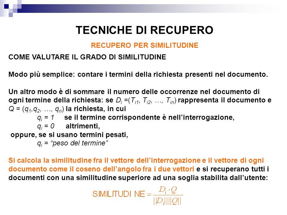 COME VALUTARE IL GRADO DI SIMILITUDINE Modo più semplice: contare i termini della richiesta presenti nel documento.