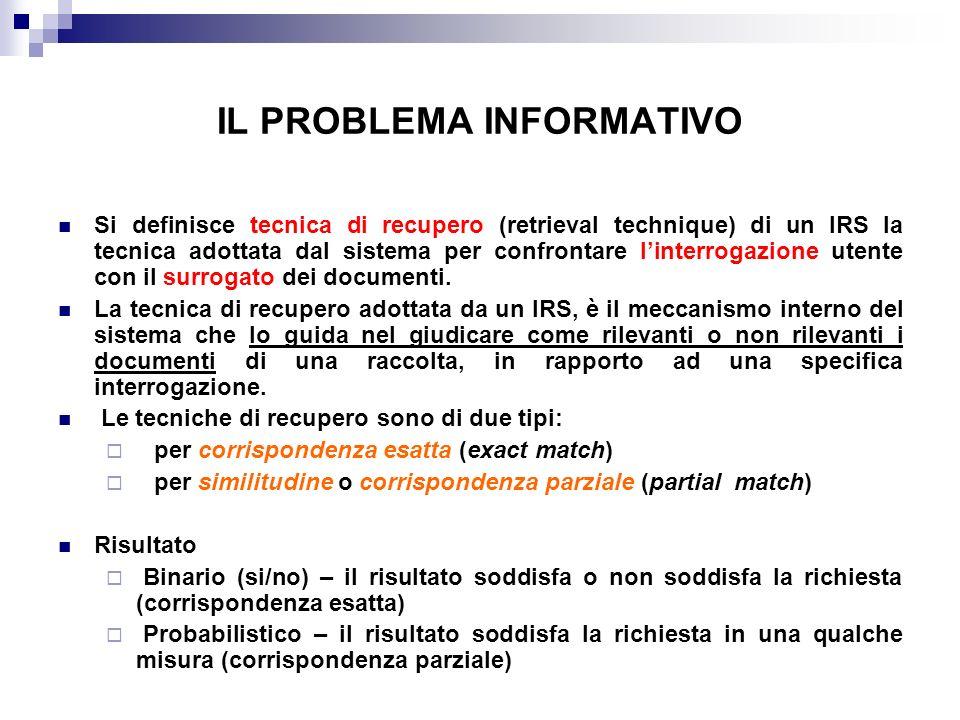 Il modello vettoriale: interrogazione Interrogazione: un insieme di termini Rappresentazione dellinterrogazione: un vettore, simile ai documenti (con moltissimi 0 e qualche 1 in corrispondenza dei termini specificati dallutente) Q(t1, t2, … tn)