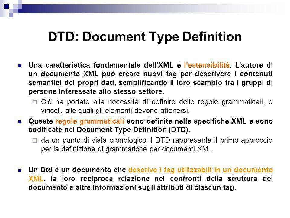 DTD: Document Type Definition Una caratteristica fondamentale dell XML è l estensibilità.