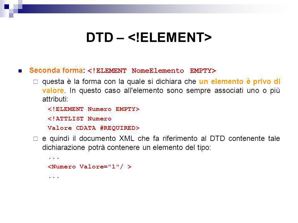 DTD – Seconda forma: questa è la forma con la quale si dichiara che un elemento è privo di valore.