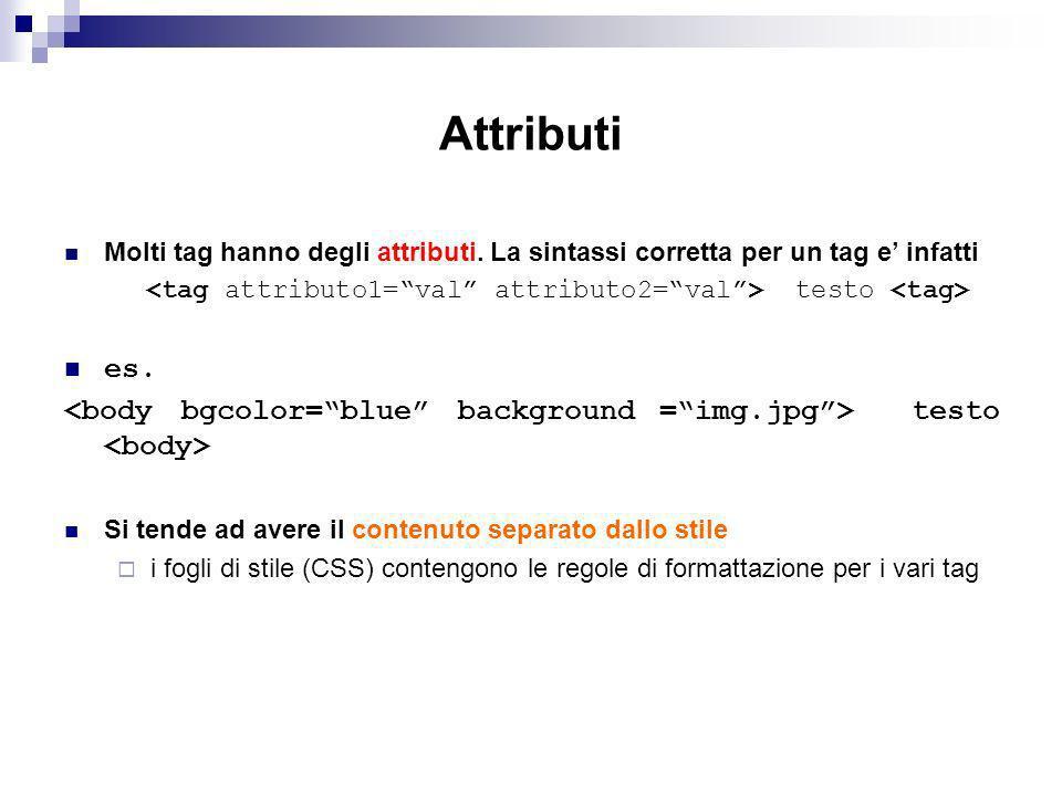 Attributi Molti tag hanno degli attributi.La sintassi corretta per un tag e infatti testo es.