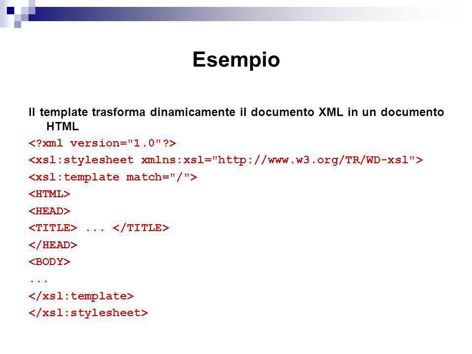 Esempio Il template trasforma dinamicamente il documento XML in un documento HTML......