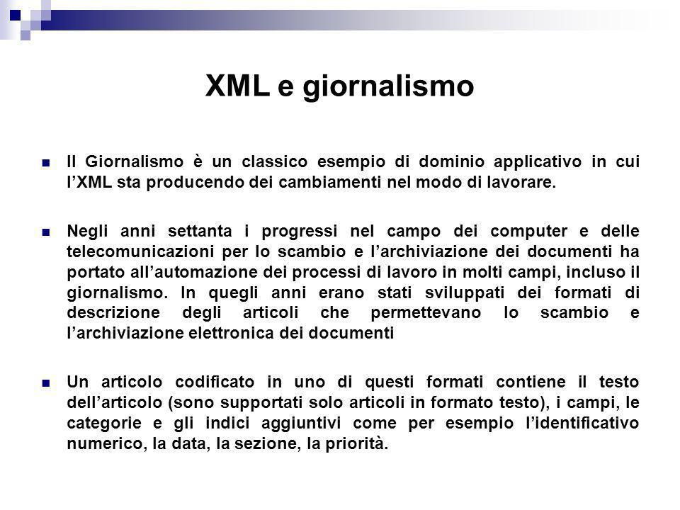 XML e giornalismo Il Giornalismo è un classico esempio di dominio applicativo in cui lXML sta producendo dei cambiamenti nel modo di lavorare.