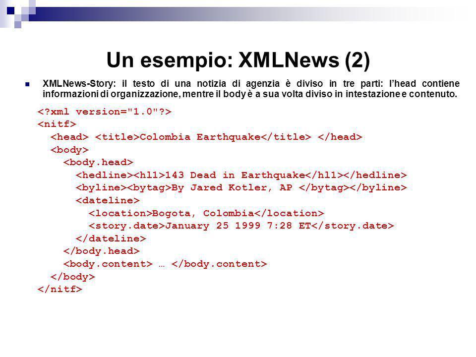 Un esempio: XMLNews (2) XMLNews-Story: il testo di una notizia di agenzia è diviso in tre parti: lhead contiene informazioni di organizzazione, mentre il body è a sua volta diviso in intestazione e contenuto.