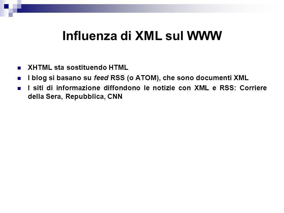 Influenza di XML sul WWW XHTML sta sostituendo HTML I blog si basano su feed RSS (o ATOM), che sono documenti XML I siti di informazione diffondono le notizie con XML e RSS: Corriere della Sera, Repubblica, CNN
