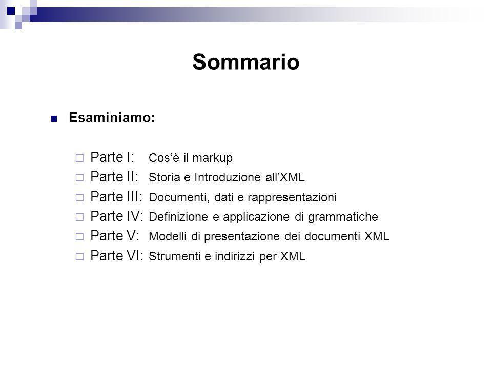 Sommario Esaminiamo: Parte I: Cosè il markup Parte II: Storia e Introduzione allXML Parte III: Documenti, dati e rappresentazioni Parte IV: Definizione e applicazione di grammatiche Parte V: Modelli di presentazione dei documenti XML Parte VI: Strumenti e indirizzi per XML