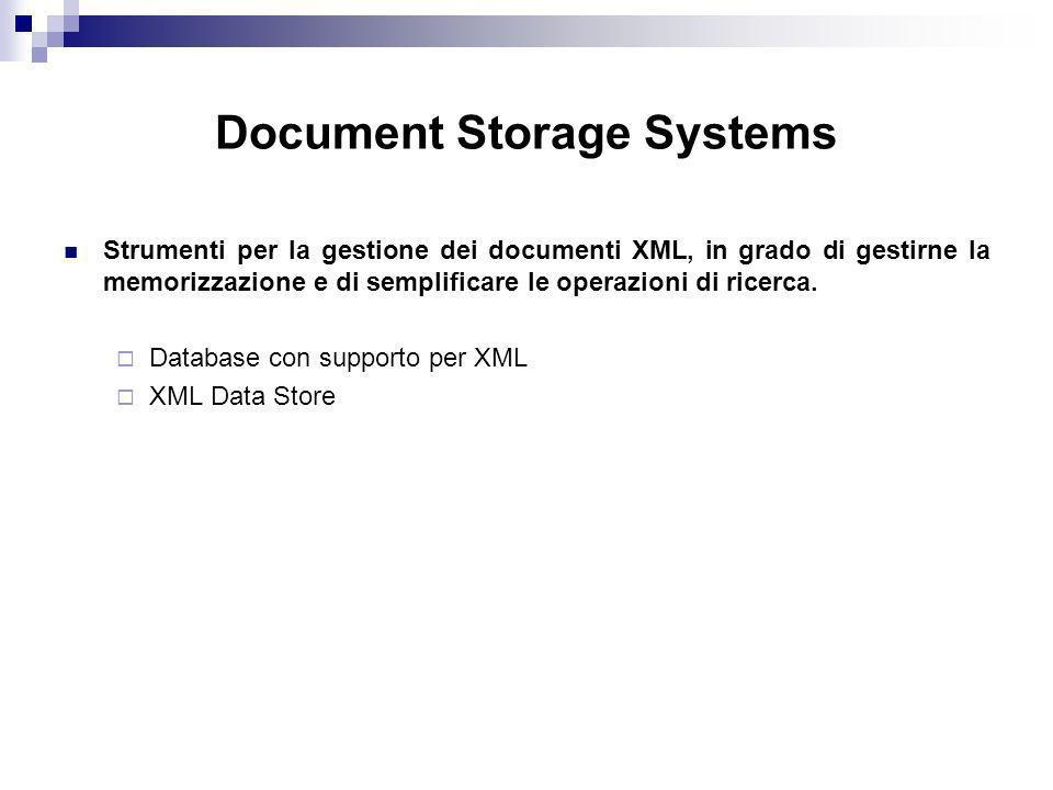 Document Storage Systems Strumenti per la gestione dei documenti XML, in grado di gestirne la memorizzazione e di semplificare le operazioni di ricerca.