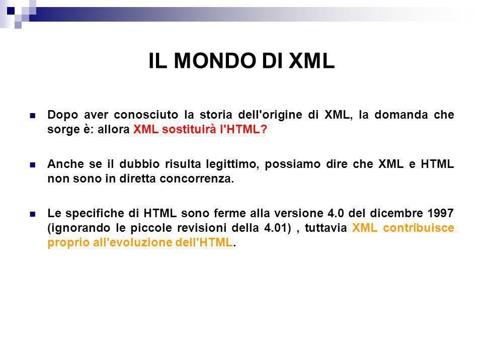 IL MONDO DI XML Dopo aver conosciuto la storia dell origine di XML, la domanda che sorge è: allora XML sostituirà l HTML.