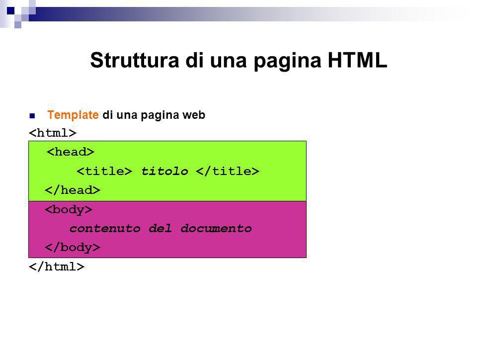 Template di una pagina web titolo contenuto del documento Struttura di una pagina HTML