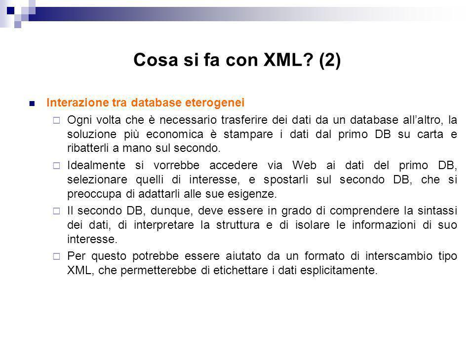 Cosa si fa con XML.