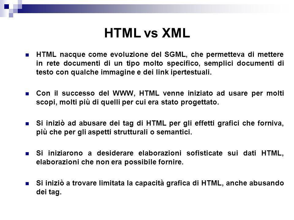 HTML vs XML HTML nacque come evoluzione del SGML, che permetteva di mettere in rete documenti di un tipo molto specifico, semplici documenti di testo con qualche immagine e dei link ipertestuali.