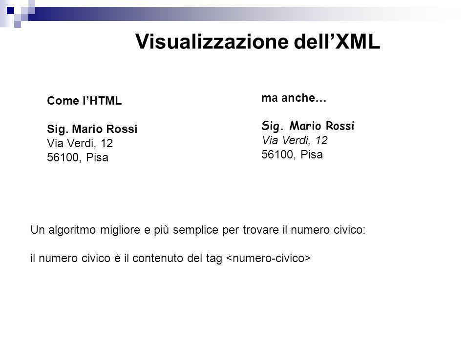 Visualizzazione dellXML Come lHTML Sig.Mario Rossi Via Verdi, 12 56100, Pisa ma anche… Sig.