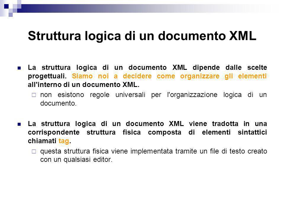 Struttura logica di un documento XML La struttura logica di un documento XML dipende dalle scelte progettuali.