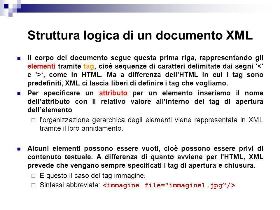 Struttura logica di un documento XML Il corpo del documento segue questa prima riga, rappresentando gli elementi tramite tag, cioè sequenze di caratteri delimitate dai segni , come in HTML.
