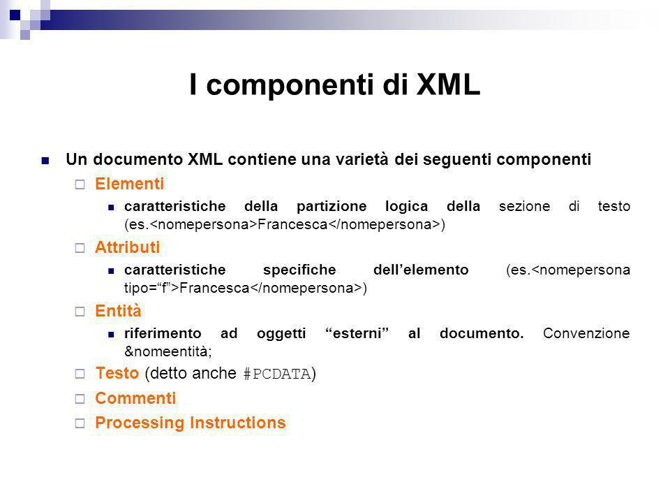 I componenti di XML Un documento XML contiene una varietà dei seguenti componenti Elementi caratteristiche della partizione logica della sezione di testo (es.