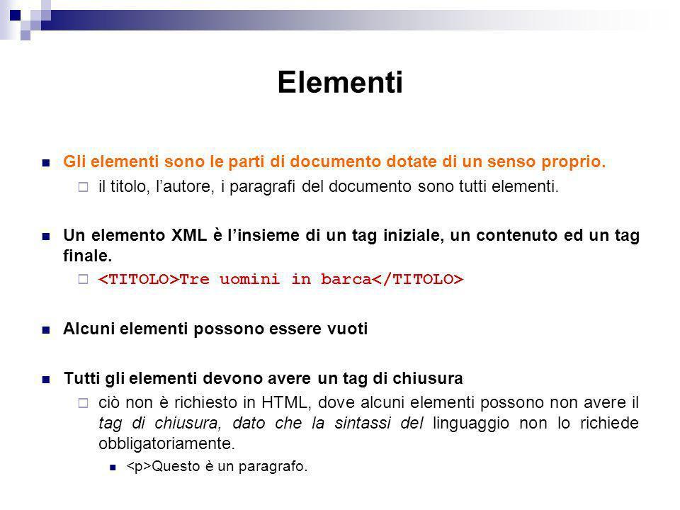 Elementi Gli elementi sono le parti di documento dotate di un senso proprio.