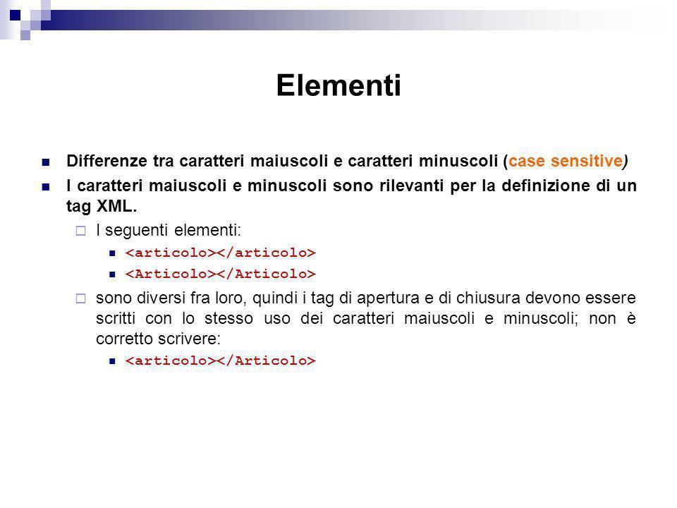 Elementi Differenze tra caratteri maiuscoli e caratteri minuscoli (case sensitive) I caratteri maiuscoli e minuscoli sono rilevanti per la definizione di un tag XML.