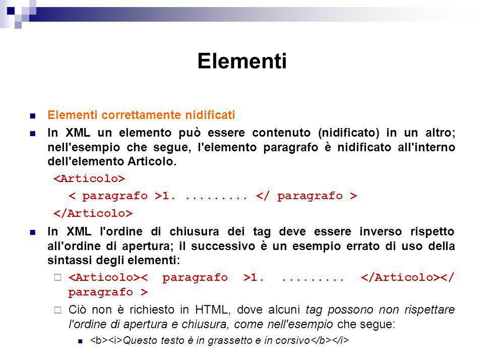 Elementi Elementi correttamente nidificati In XML un elemento può essere contenuto (nidificato) in un altro; nell esempio che segue, l elemento paragrafo è nidificato all interno dell elemento Articolo.