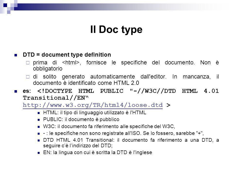 Il Doc type DTD = document type definition prima di, fornisce le specifiche del documento.